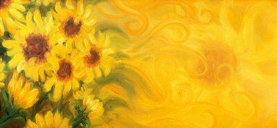 Obraz Sunny Slunečnice se sluncem a ornamenty. Olej na plátně.