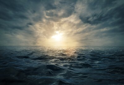 Obraz Sunset on stormy sea