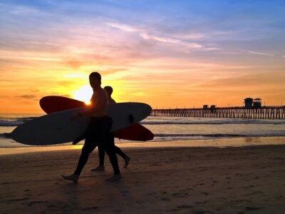 Obraz Surfers Sunset Oceanside Pier Beach San Diego Kalifornie USA