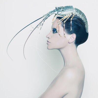 Obraz Surreal dáma s humrem na hlavě