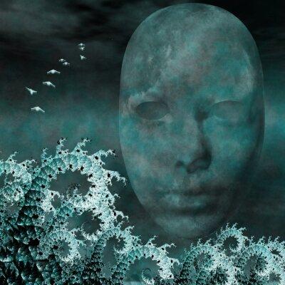 Obraz Surreal Mask a fraktály jako vlny oceánu