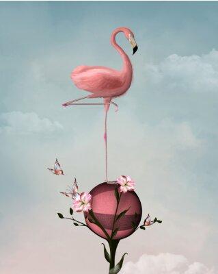 Obraz Surrealistické kompozice s plameňáků a květiny