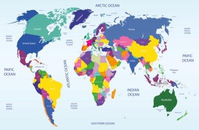 Obraz Svět geografická a politická mapa