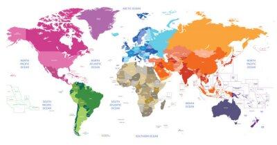 Obraz Svět politická mapa barevné podle kontinentů