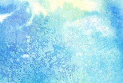 Obraz Světle modré abstraktní malované akvarelem polití nebo oblačnosti, oblohy