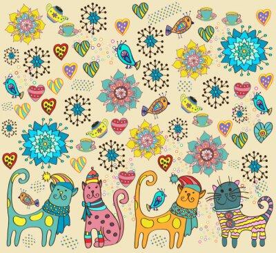 Obraz Světlé pozadí s kočkami, květinami a srdce