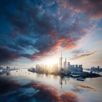 Obraz svítání velkoměsto