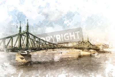 Obraz Svoboda most v Budapešti. Turistickou destinací fotografování s sityscape a řeku.