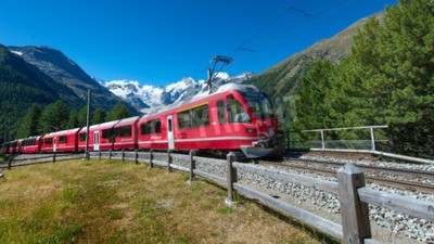 Obraz Swiss mountain train Bernina Express crossed Alps