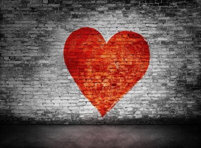Obraz Symbol lásky malované na kalné cihlové zdi