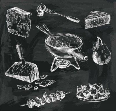 Obraz sýr fondue náčrtky
