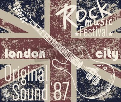 Obraz T-shirt Tiskový design, typografie grafiky, Londýn Rock festival vektorové ilustrace s grunge vlajkou a ručně kreslený náčrt kytary Odznak Applique Label.