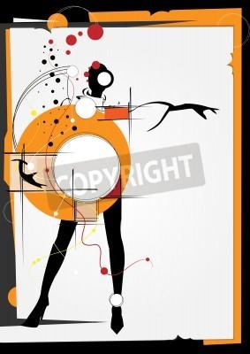 Obraz Ta dívka v stylu kubismu. Čtverce, barvy, černé pozadí