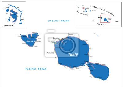 Tahiti a Bora Bora, mapa