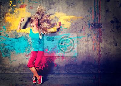Obraz tančící dívka s barevné cákance - movin 04