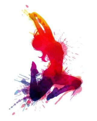 Obraz Tančící dívka s výstřední šplouchá