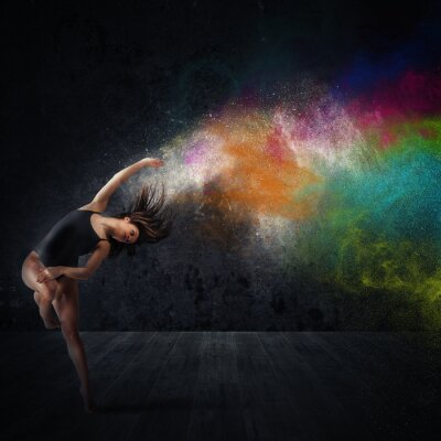 Obraz Tanec s barevnými pigmenty