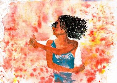Obraz Taneční pár. Akvarel ilustrace