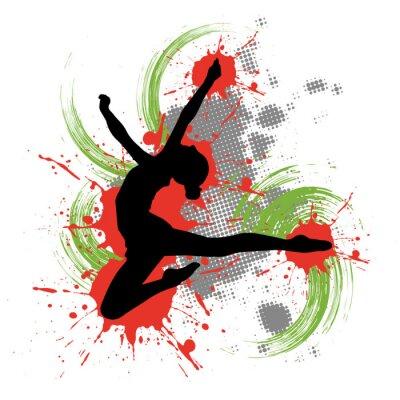 Obraz Tänzerin vor buntem pozadí mit Farbspritzern