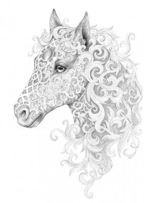 Obraz Tattoo, beautiful horse head with a mane