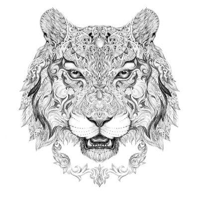 Obraz Tattoo, grafika hlava tygra