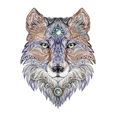 Obraz Tattoo head wolf divoká šelma