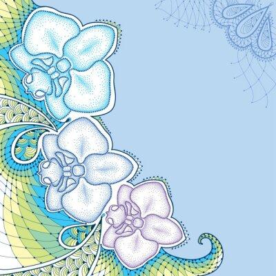 Obraz Tečkovaná můra orchideje Phalaenopsis nebo s ozdobnou krajkou v pastelových barvách na modrém pozadí. Květinové prvky v dotwork stylu.