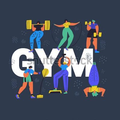 Obraz Tělocvična, fitness klubu ručně tažené slovo koncept nápis. Drobní lidé ve sportovní kreslené postavičky. Atletika, tréninková cvičení plochý barevný vektorové ilustrace. Cvičení plakát, banner design