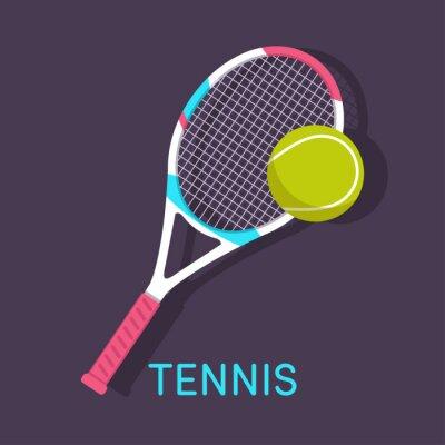 Obraz Tenis, raketa, míček hnědé pozadí