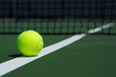 Obraz Tenisový míč s Net v pozadí