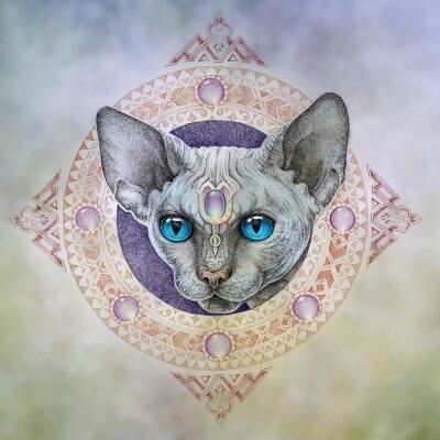 Obraz Tetování, hlava kočky v kruhu