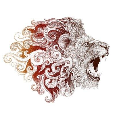 Obraz Tetování hlava lva s úsměvem