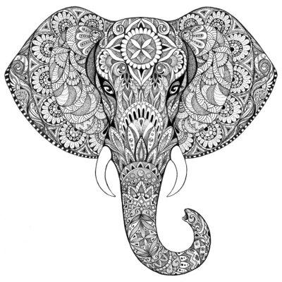 Obraz Tetování slon se vzory a ornamenty