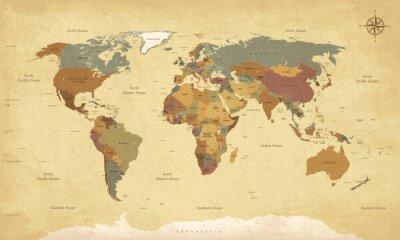 Obraz Texturou mapa ročník world - English / US Štítky - Vector CMYK