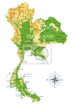 Thajsko fyzická mapa