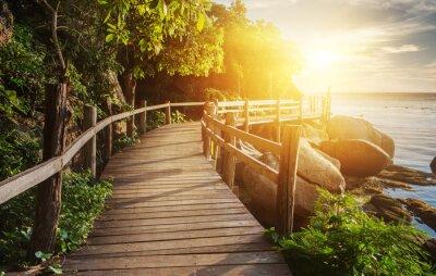 Obraz Thajsko západ slunce pohled z dřevěného mostu na ostrově Koh Phangan