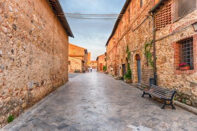 The medieval architecture of Monteriggioni, iconic town in Italy