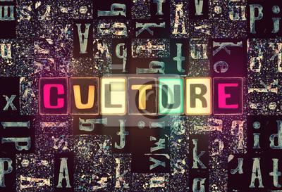 Obraz The word Culture as neon glowing unique typeset symbols, luminous letters culture