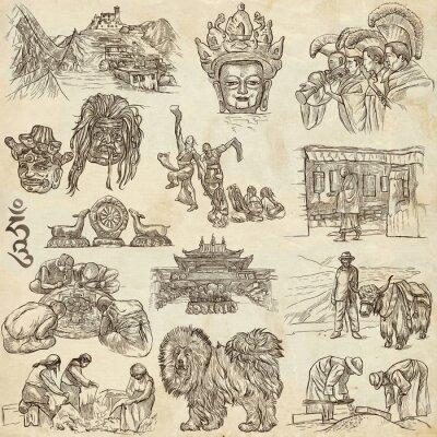 Obraz Tibet. Travel - Pictures of Life. Ruční kresby.