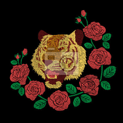 Tiger Hlava A Cervene Ruze Kvetove Vysivani Kresby Design Pro Obrazy