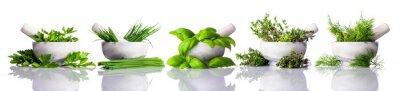 Obraz Tloučku se zelenými bylinkami na bílém pozadí