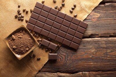 Obraz Tmavá čokoláda, kakao a káva zrna