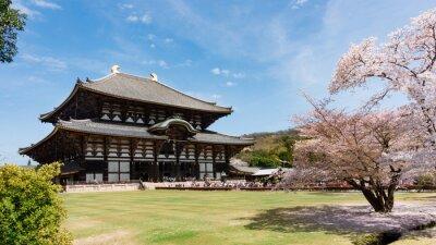 Obraz Todaiji chrám v sakury sezóně v Nara, Japonsko
