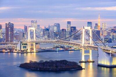 Obraz Tokio panorama s Tokijská věž a duhovým mostem