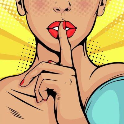 Obraz Top tajné ticho dívka. Krásná žena položila prst na rty a vyzvala k tichu. Barevné vektorové pozadí v retro stylu komiks pop art.