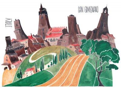 Obraz Toskánské kopce. Stylizovaná příroda a architektura Itálie. Ilustrace akvarel.