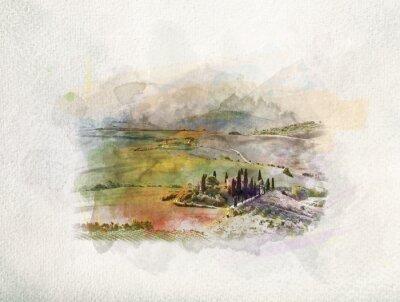 Obraz Toskánsko krajina při východu slunce v akvarely.