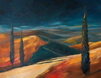 Obraz Toskánsko údolí při západu slunce.Picture vytvořený s akrylátovými.