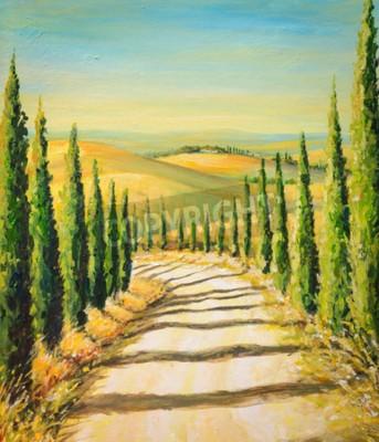 Obraz Toskánsko: venkovská krajina s cestou, polí a kopců. Obraz vytvořený akrylovými barvami.