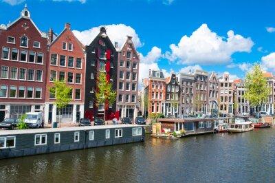 Obraz Tradiční Amsterdam panoráma města s bytových domů v Down Town. Nizozemsko.
